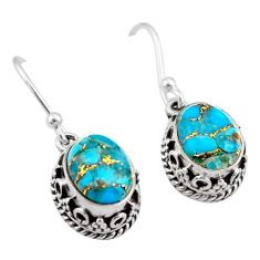 5.56cts blue copper turquoise 925 sterling silver dangle earrings jewelry t46871