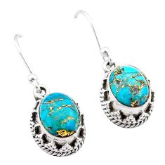 5.51cts blue copper turquoise 925 sterling silver dangle earrings jewelry t46887