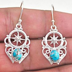 3.11cts blue copper turquoise 925 sterling silver dangle earrings jewelry t46948