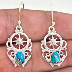3.07cts blue copper turquoise 925 sterling silver dangle earrings jewelry t46954