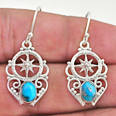 2.58cts blue copper turquoise 925 sterling silver dangle earrings jewelry t46975