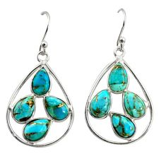 11.87cts blue copper turquoise 925 sterling silver dangle earrings r37372