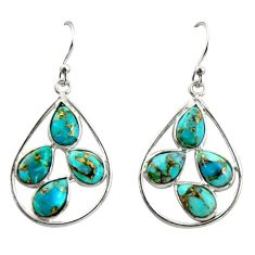 10.89cts blue copper turquoise 925 sterling silver dangle earrings r37592