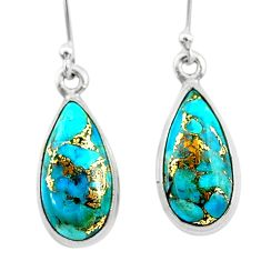 10.27cts blue copper turquoise 925 sterling silver dangle earrings t23797