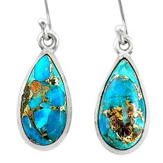 10.32cts blue copper turquoise 925 sterling silver dangle earrings t23800