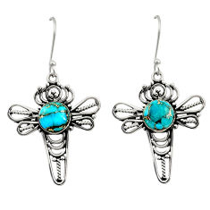 Clearance Sale- 5.79cts blue copper turquoise 925 sterling silver dragonfly earrings d41188