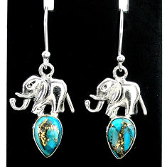 4.07cts blue copper turquoise 925 sterling silver elephant earrings t37374
