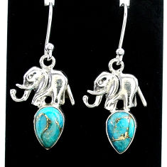 4.07cts blue copper turquoise 925 sterling silver elephant earrings t37376