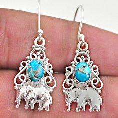 3.01cts blue copper turquoise 925 sterling silver elephant earrings t46969