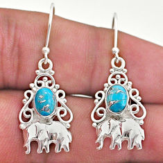 3.01cts blue copper turquoise 925 sterling silver elephant earrings t46970