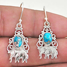 3.01cts blue copper turquoise 925 sterling silver elephant earrings t46971