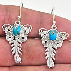 3.28cts blue copper turquoise 925 sterling silver feather charm earrings t46980