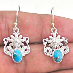 3.40cts blue copper turquoise 925 sterling silver flower earrings jewelry t46945
