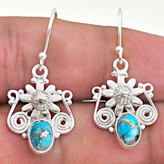 2.98cts blue copper turquoise 925 sterling silver flower earrings jewelry t46966