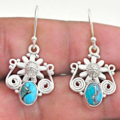 2.81cts blue copper turquoise 925 sterling silver flower earrings jewelry t46967
