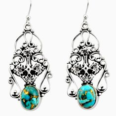 7.38cts blue copper turquoise 925 sterling silver holy cross earrings d47567