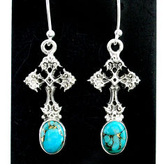 4.07cts blue copper turquoise 925 sterling silver holy cross earrings t37372