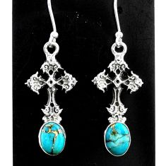 4.07cts blue copper turquoise 925 sterling silver holy cross earrings t37382