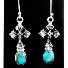 4.30cts blue copper turquoise 925 sterling silver holy cross earrings t37396