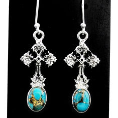 4.30cts blue copper turquoise 925 sterling silver holy cross earrings t37399