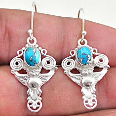 3.14cts blue copper turquoise 925 sterling silver owl earrings jewelry t46978