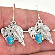 3.41cts blue copper turquoise 925 sterling silver seashell earrings t46961