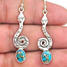 4.47cts blue copper turquoise 925 sterling silver snake earrings jewelry t32953