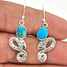 3.91cts blue copper turquoise 925 sterling silver snake earrings jewelry t40217