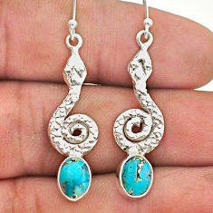 4.28cts blue copper turquoise 925 sterling silver snake earrings jewelry t40222
