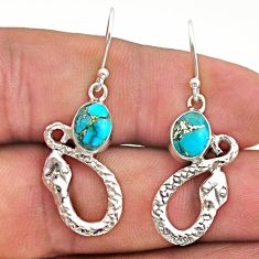 4.28cts blue copper turquoise 925 sterling silver snake earrings jewelry t40249