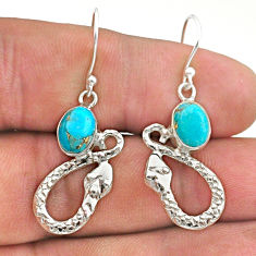 4.47cts blue copper turquoise 925 sterling silver snake earrings jewelry t40252