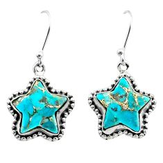 9.97cts blue copper turquoise 925 sterling silver star earrings t50626