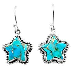 9.54cts blue copper turquoise 925 sterling silver star handmade earrings t50632