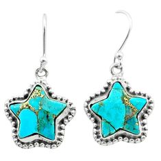 9.99cts blue copper turquoise 925 sterling silver star handmade earrings t50634