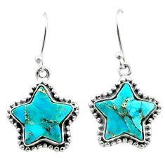 9.97cts blue copper turquoise 925 sterling silver star handmade earrings t50635