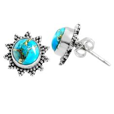 4.04cts blue copper turquoise 925 sterling silver stud earrings jewelry r67008