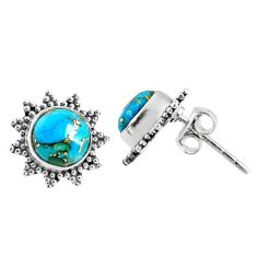 3.93cts blue copper turquoise 925 sterling silver stud earrings jewelry r67009