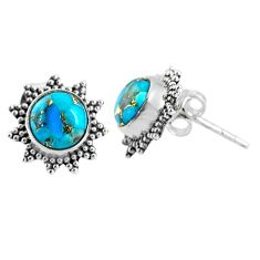 4.02cts blue copper turquoise 925 sterling silver stud earrings jewelry r67010