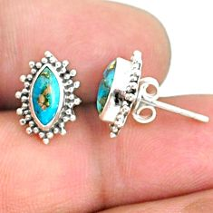 3.65cts blue copper turquoise 925 sterling silver stud earrings jewelry r68073