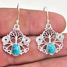 2.95cts blue copper turquoise 925 sterling silver tree of life earrings t46942