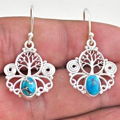 2.91cts blue copper turquoise 925 sterling silver tree of life earrings t46943