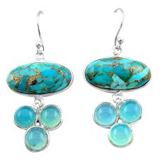 19.09cts blue copper turquoise chalcedony 925 silver dangle earrings r40409