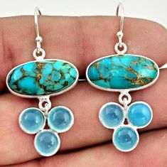 15.85cts blue copper turquoise chalcedony 925 silver dangle earrings r42280