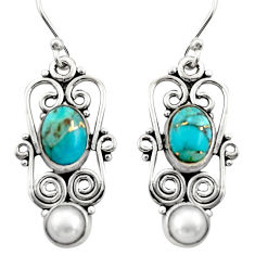 4.94cts blue copper turquoise pearl 925 sterling silver dangle earrings r21689