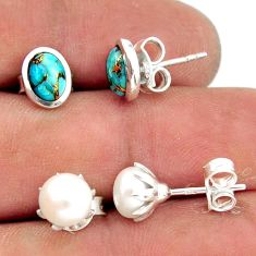 6.03cts blue copper turquoise pearl 925 sterling silver stud earrings r41289