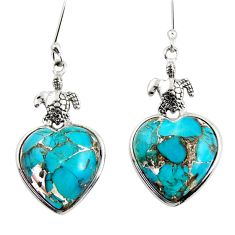 Clearance Sale- 17.53cts blue copper turquoise sterling silver tortoise heart earrings d39510