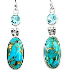 16.71cts blue copper turquoise topaz 925 sterling silver dangle earrings r26108