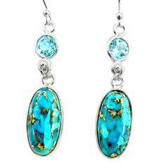 15.31cts blue copper turquoise topaz 925 sterling silver dangle earrings r26118
