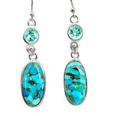 14.09cts blue copper turquoise topaz 925 sterling silver dangle earrings r41121