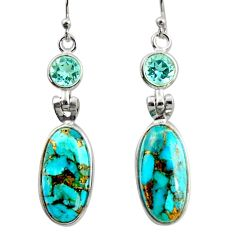 13.83cts blue copper turquoise topaz 925 sterling silver dangle earrings r41123